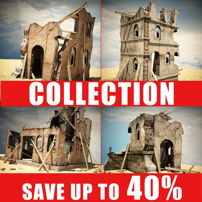 destroyed houses games 4 3d model