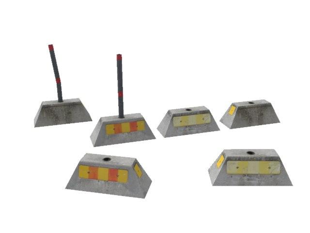 concrete barriers 3d 3ds