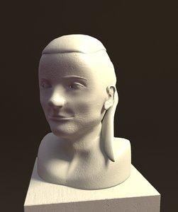 3d model bust female head