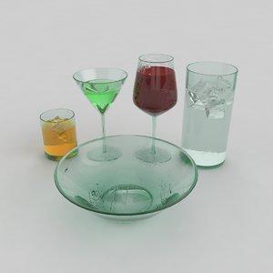 3d set glass model