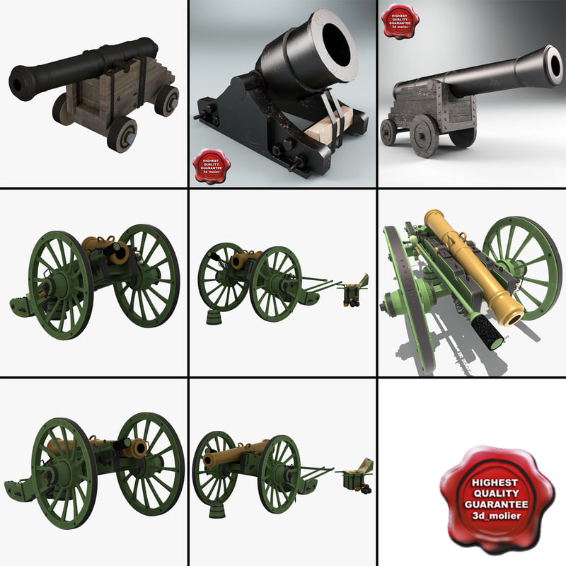 old cannons 3 3d model