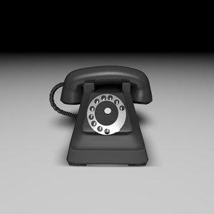 3d model of retro telephone phone rotary