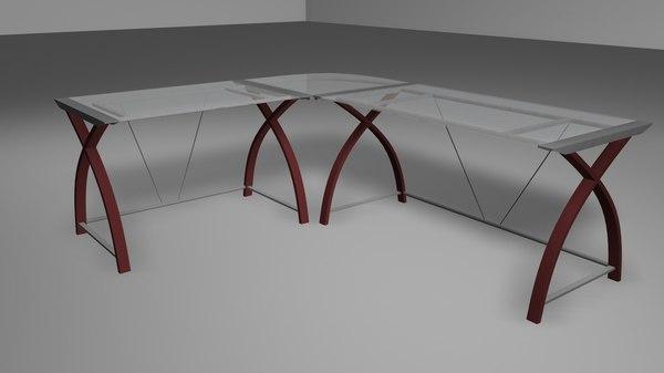 3d glass sectional desk model