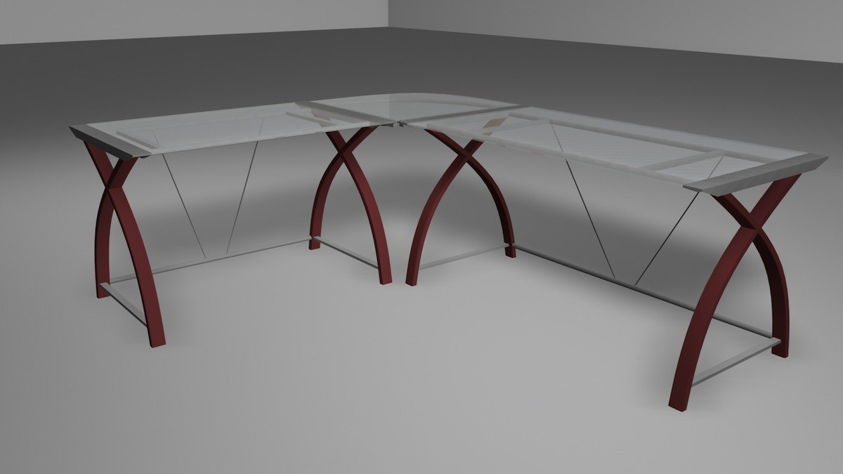 3d glass sectional desk model