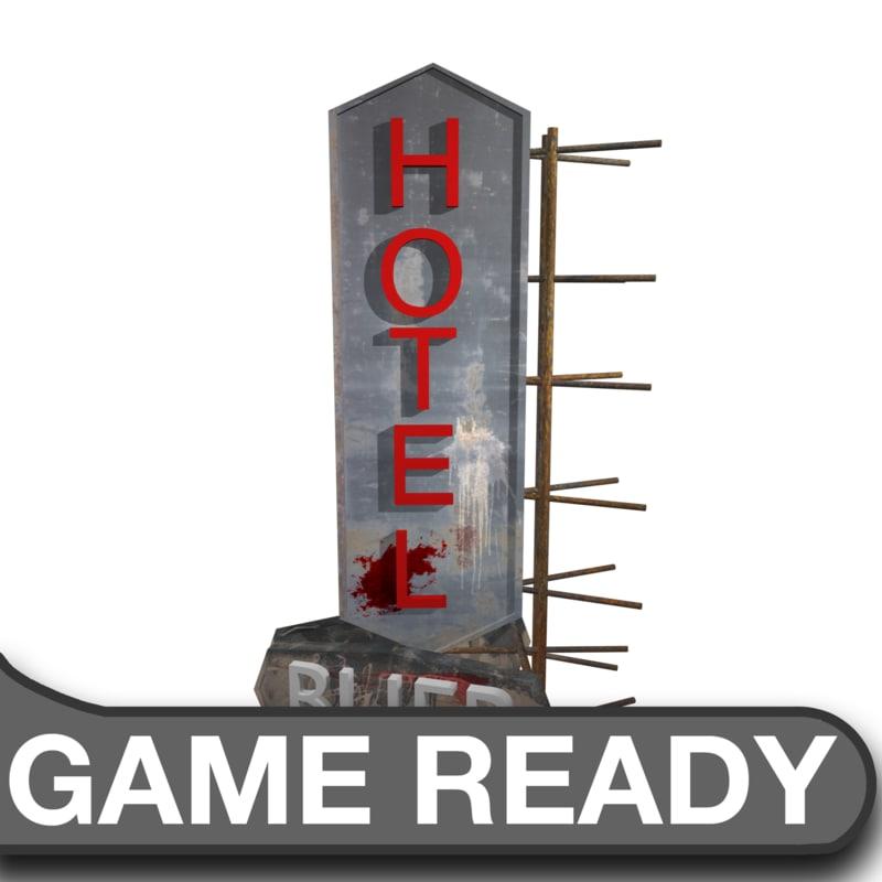 3d model hotel sign