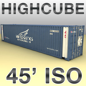 3d max 45 feet highcube container cargo