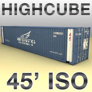 3d max 45 feet highcube container cargo