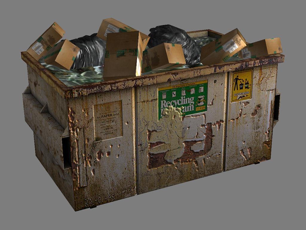 3d normal recycling bin