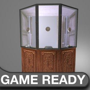 wooden ticket booth 3d obj
