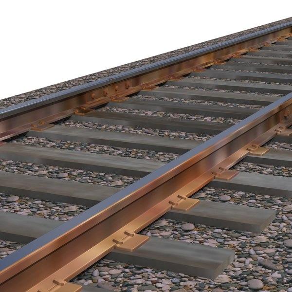 3d standard gauge railroad track model