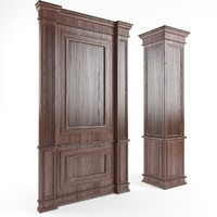 wooden panels walls columns 3d model