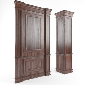 wooden panels walls columns 3d model