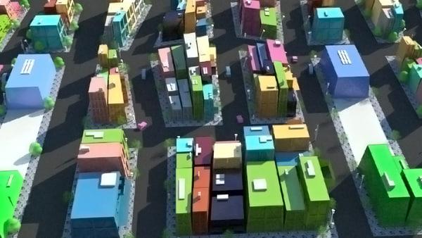 3d model cartoon city