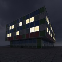 building 10 night 3d model