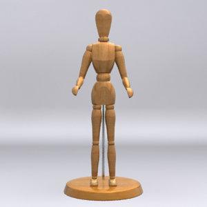3d model wooden art mannequin