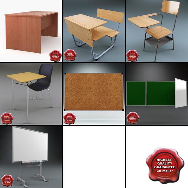 3d school board desk model