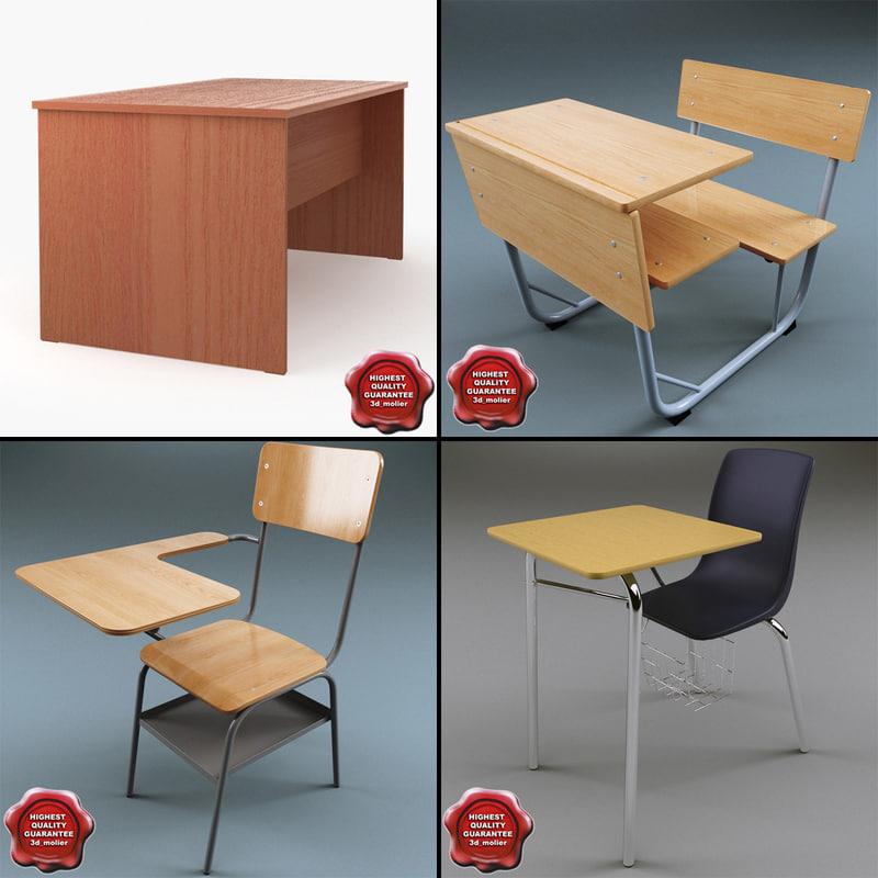 school desks 3ds