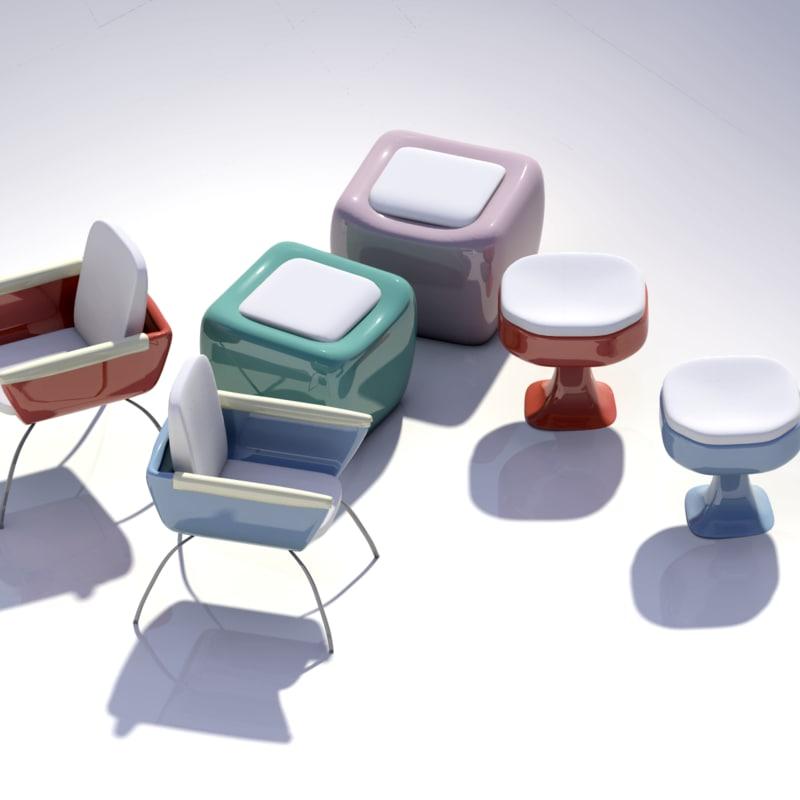 3dsmax modern chairs