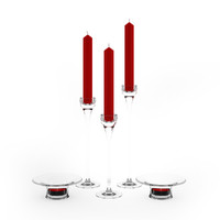 3d glass candlestick candle model