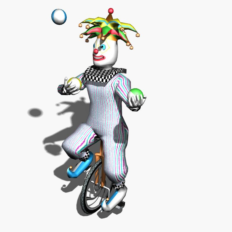 clown animation unicycle 3d model
