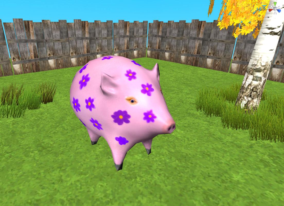 3d model cute pig