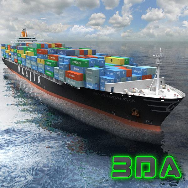 container ship cargo 3300teu 3d model