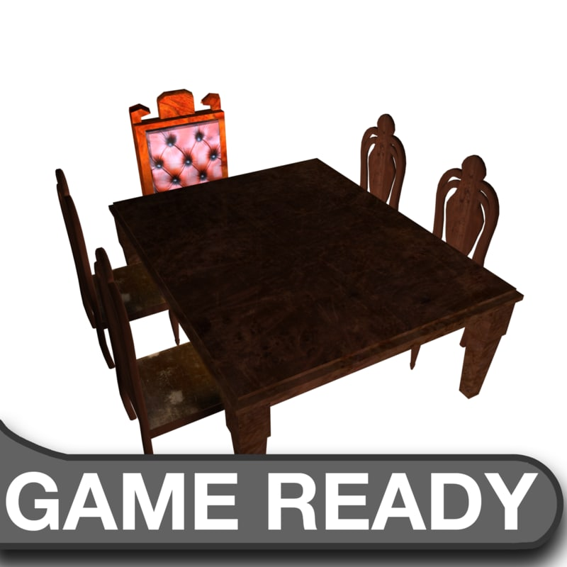 3d wooden table chairs model