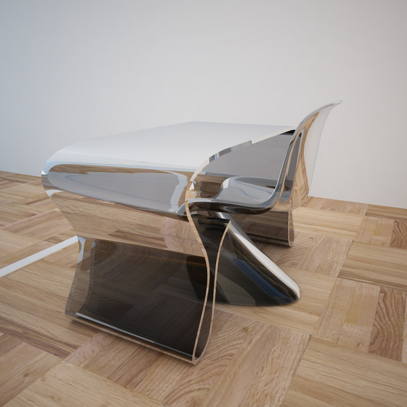 3d 3ds modern table chair glass