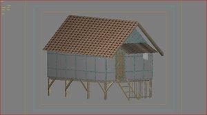 free village cottage 3d model