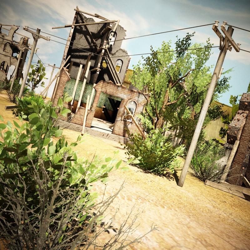 3d destroyed village environment model