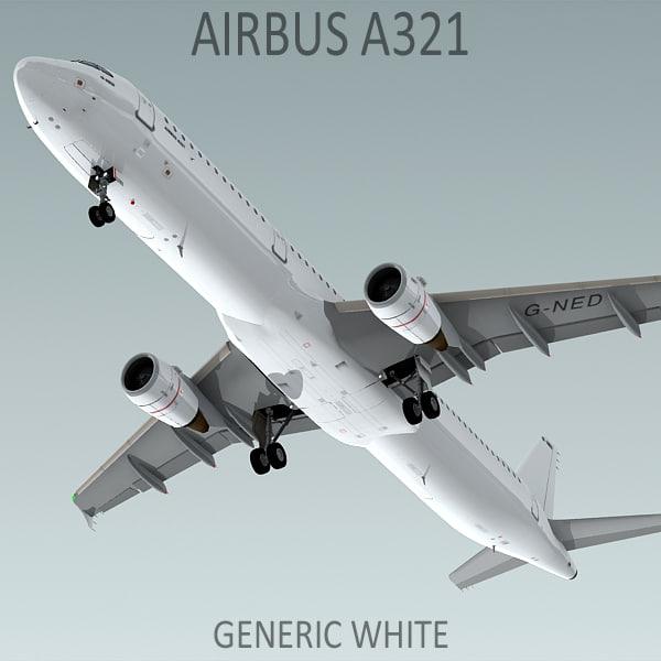 3d a321 generic white plane