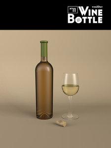 bottle 11 wine 3d model