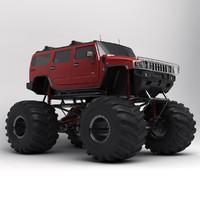 hummer h2 monster truck 3d model