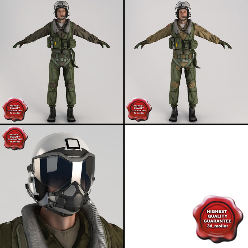 3ds max military pilots static