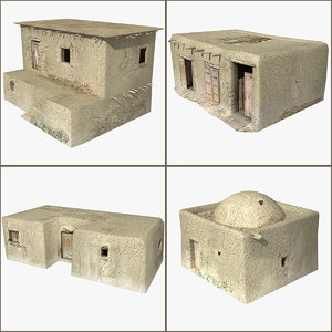 mud walled houses 3d max