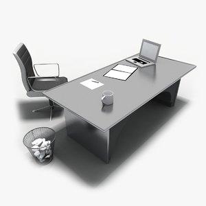 office desk chair set 3d model