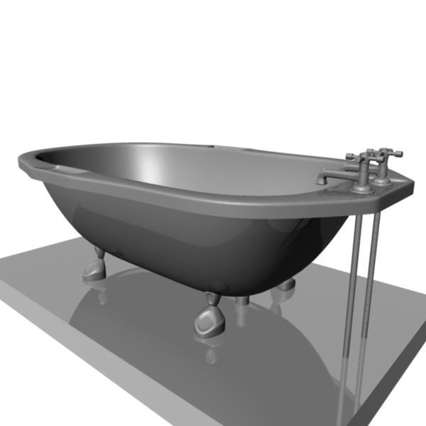 3d model old fashion bathtub