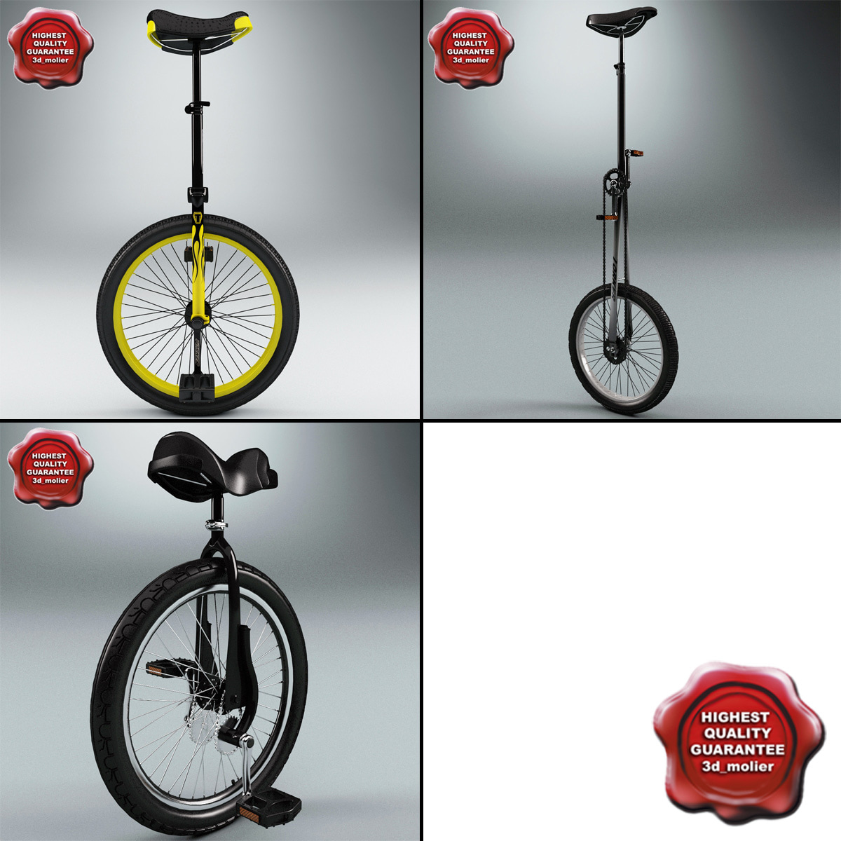 unicycles modelled 3d model