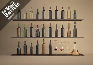 26 wine bottles 3ds
