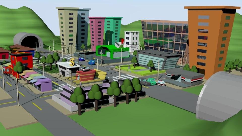 3ds max city cartoon cars