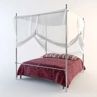 bed canopy pillows 3d model