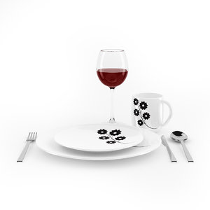 tableware set table 3d model