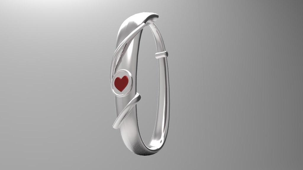 silver earring heart 3d model