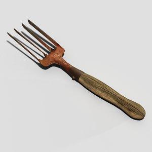 old hand rake 3d model