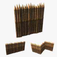 wood stockade 3d model