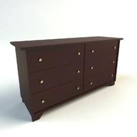 3d model wooden dresser