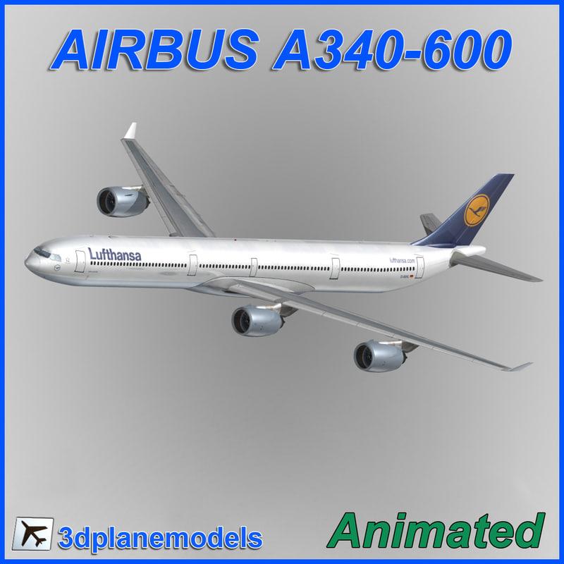 airbus a340-600 3d model