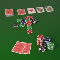 Poker cards with fiches