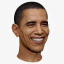 Barack Obama Smiling High and Low Polygon 3D Head Portrait