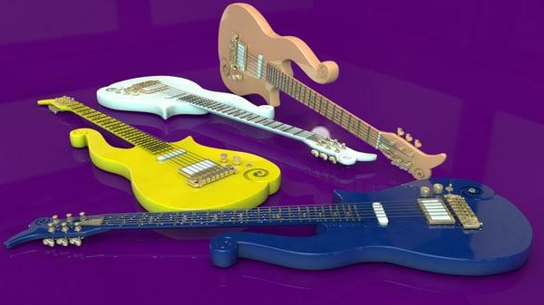 prince cloud guitars 3d c4d